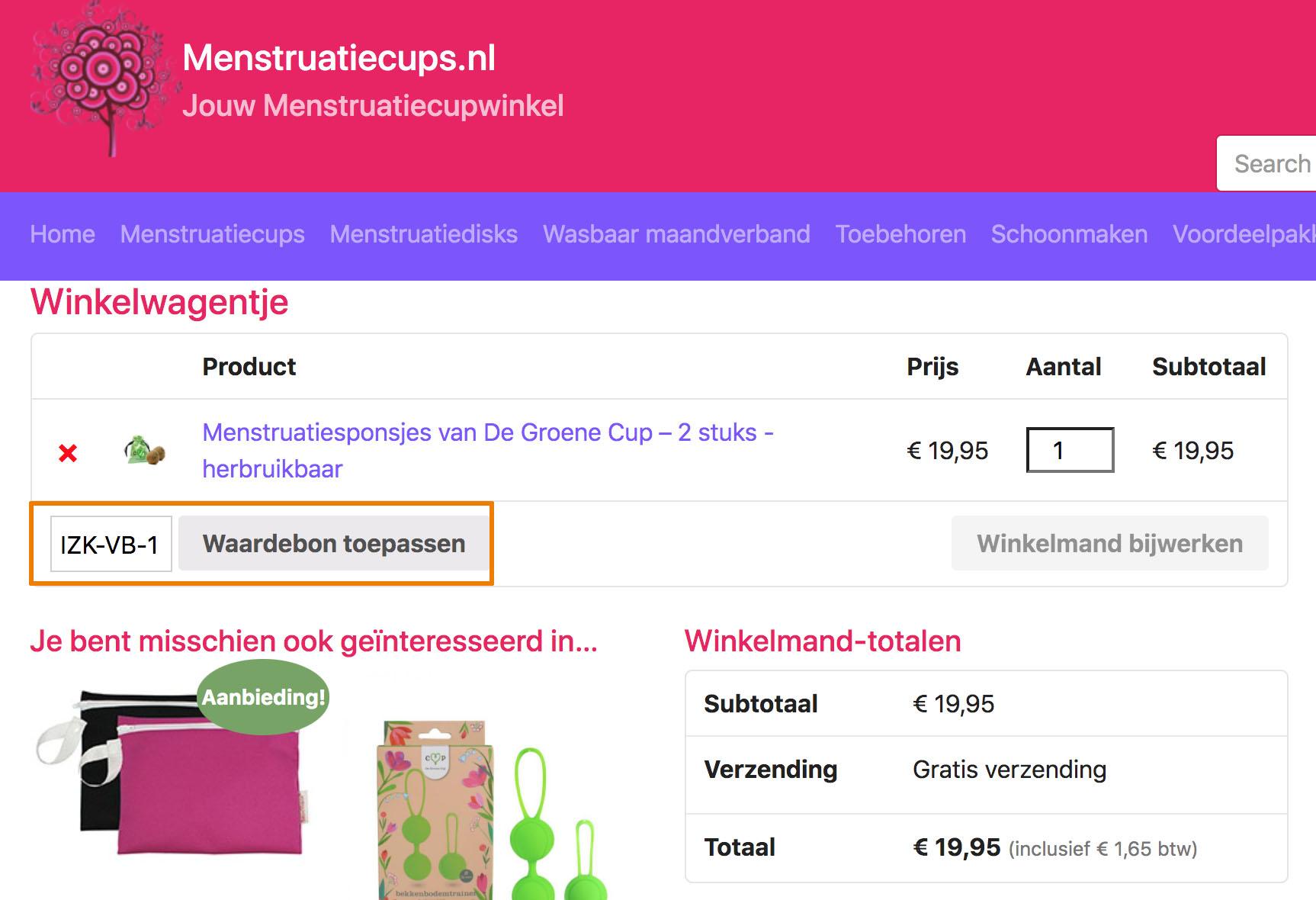 Hoe gebruik je een Menstruatiecups.nl aanbieding