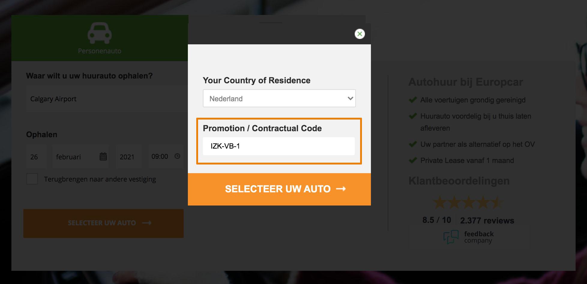 Hoe gebruik je een Europcar aanbieding
