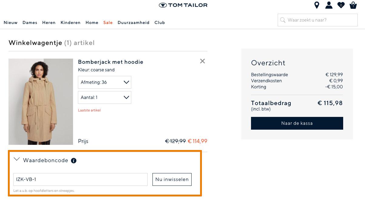 Hoe gebruik je een Tom Tailor aanbieding