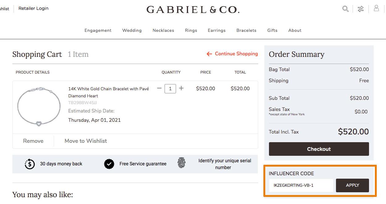 Hoe gebruik je een Gabriel & Co. aanbieding