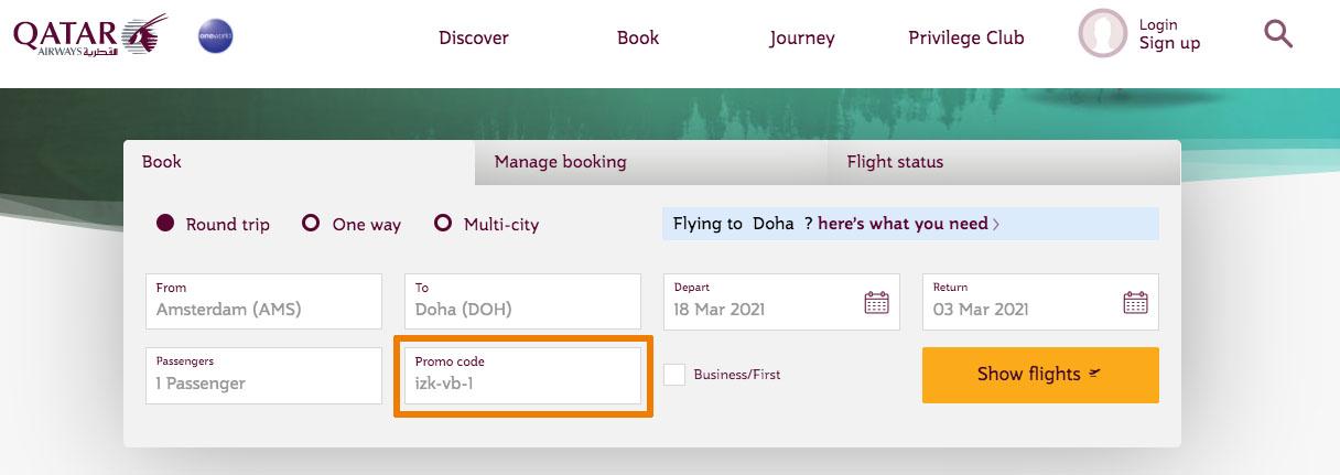 Hoe gebruik je een Qatar Airways aanbieding