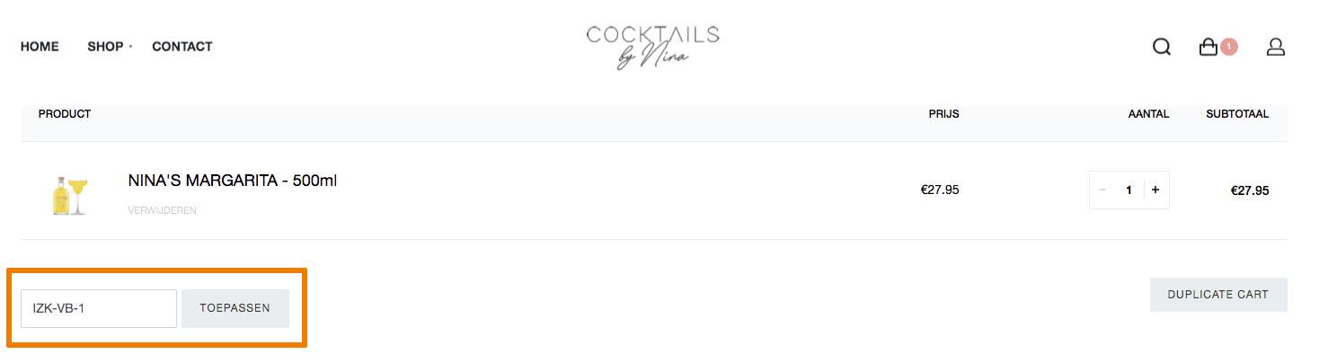 Hoe gebruik je een Cocktails by Nina aanbieding