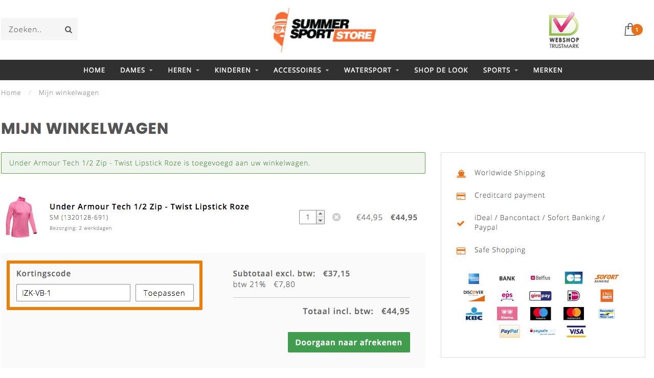 Hoe gebruik je een Summersportstore.com aanbieding