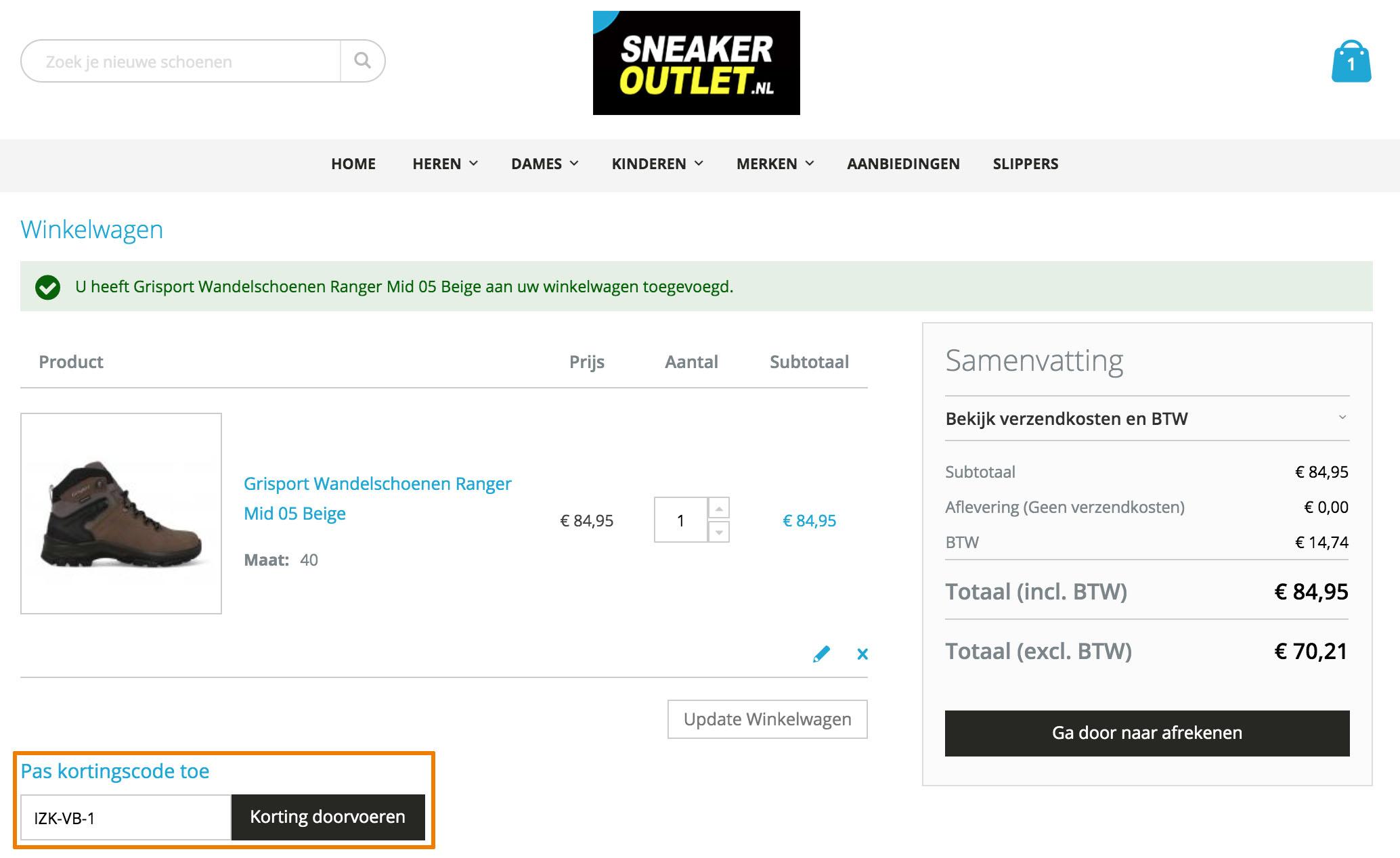 Hoe gebruik je een Sneakeroutlet aanbieding