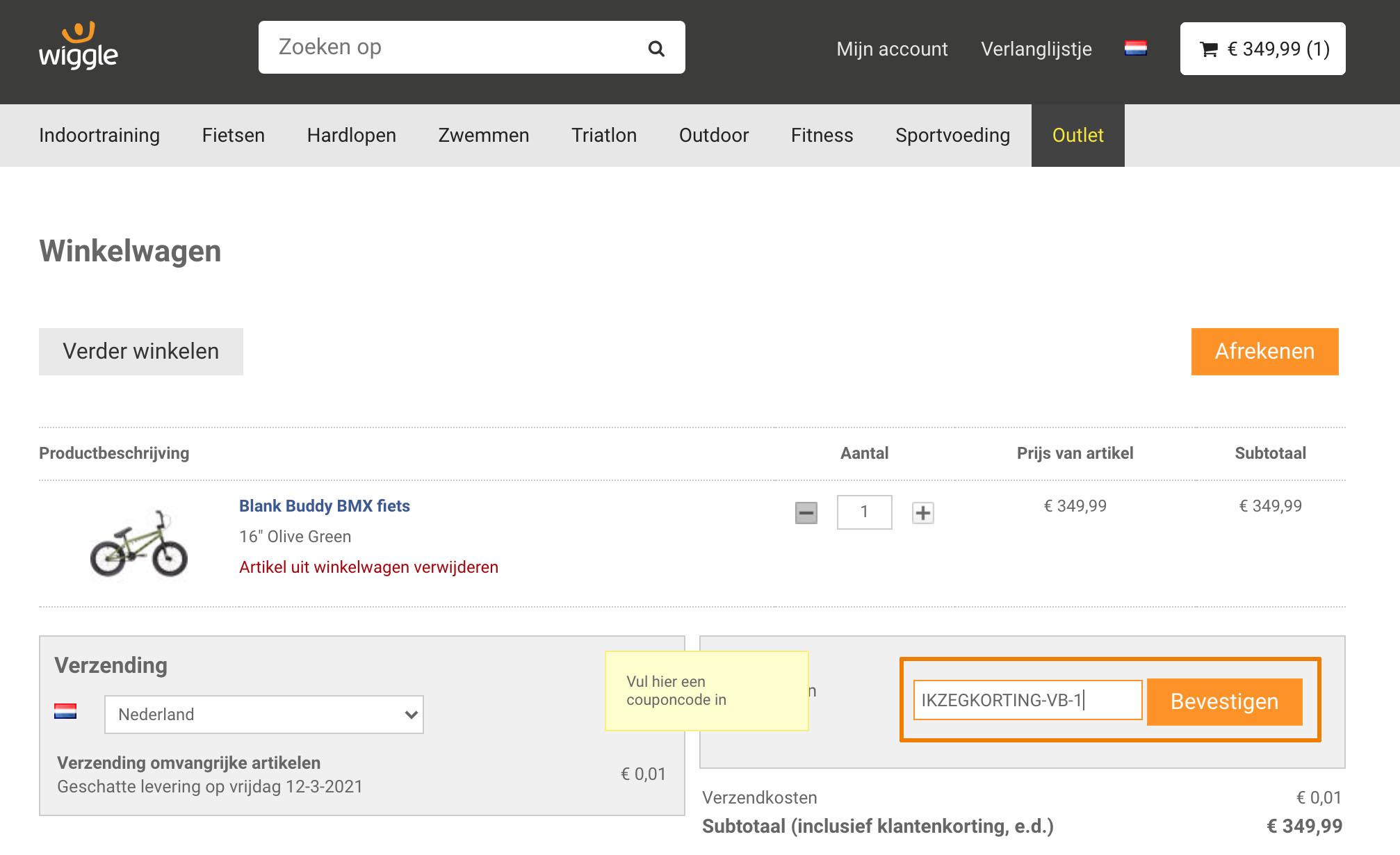 Hoe gebruik je een Wiggle.nl aanbieding
