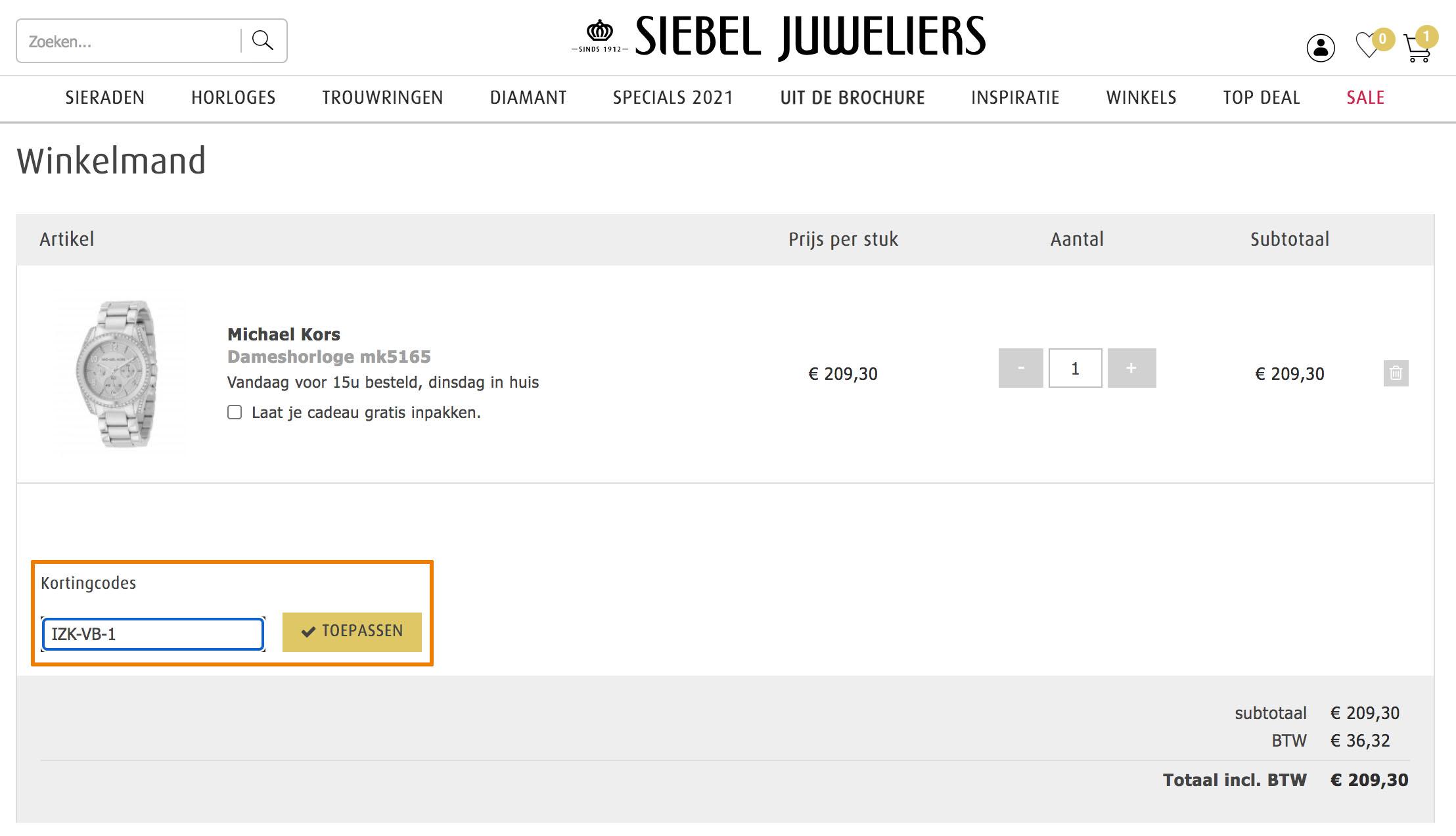 Hoe gebruik je een Siebel Juweliers aanbieding
