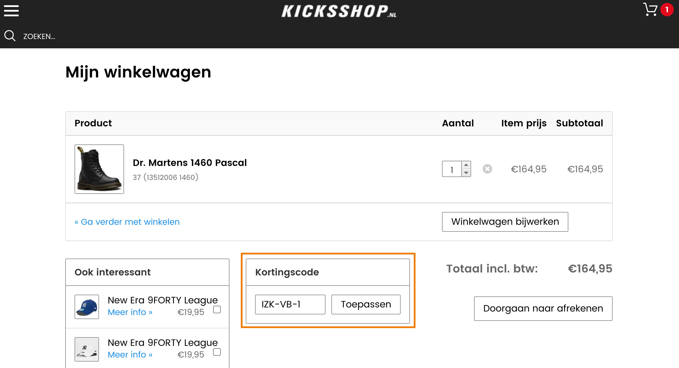 Hoe gebruik je een Kicksshop aanbieding