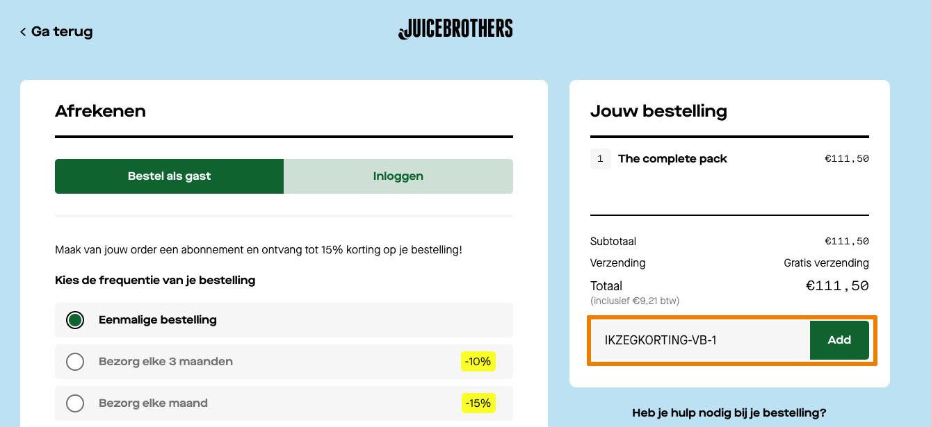 Hoe gebruik je een Juice Brothers aanbieding