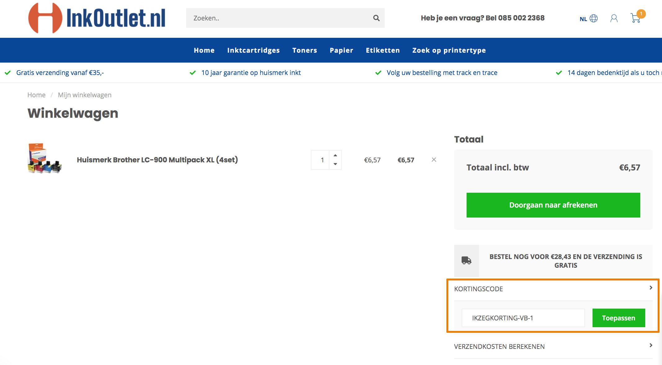 Hoe gebruik je een Inkoutlet.nl aanbieding