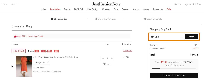 Hoe gebruik je een Just Fashion Now aanbieding