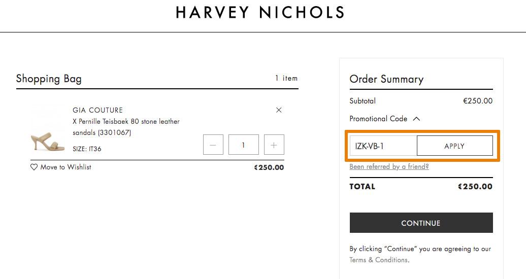 Hoe gebruik je een Harvey Nichols aanbieding